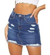 Denim Mini Skirts for Women High Waist Stretchy Ripped Hole Raw Hem Jean Short Denim Skirt