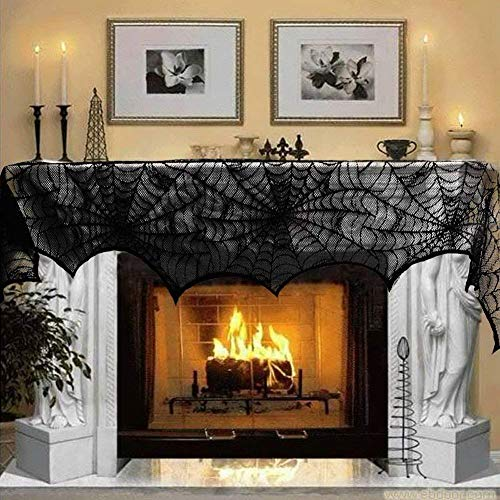 N&T NIETING 18 x 96 inch Mysterious Black Lace Spiderweb Cobweb Fireplace Scarf Mantle for Halloween Party Door Window Decoration