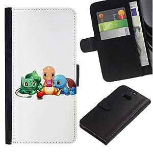 JackGot ( Pokemn Amigos ) HTC One M8 la tarjeta de Crédito Slots PU Funda de cuero Monedero caso cubierta de piel