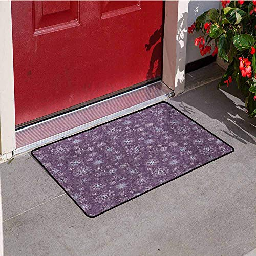 Jinguizi Snowflake Inlet Outdoor Door mat Christmas Themed Floral Arrangement Ornamental Swirls and Curves Winter Catch dust Snow and mud W35.4 x L47.2 Inch Levander Violet]()