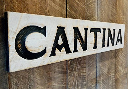 - Large Cantina Sign Horizontal 40 X 8 - Carved in Cypress Wood Americana Signs