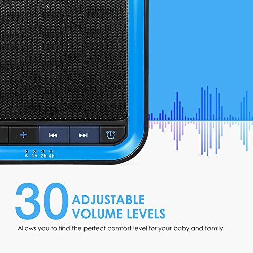 AVANTEK White Noise Sound Machine for Sleeping, 20 Non-Looping High Fidelity Soothing Sounds with 30 Levels of Volume, 7 Timer Settings and Memory Function