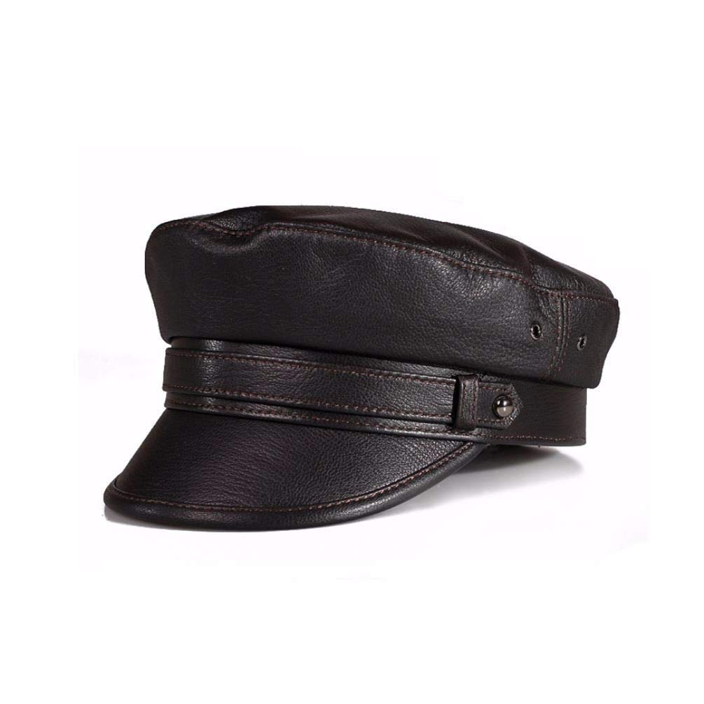 ERLINGSAN-PM Herren- und Damenmütze für Herbst- und Wintermütze aus Leder, Jugendmütze, Flache Mütze (57-58 cm), braun