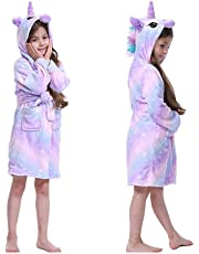 Girls Hooded Dressing Gown Pajamas Kid Unicorn Bathrobe Girls Dressing Gown Nightgown Fleece Comfy Flannel Soft Robe Hooded Colorful 2-11Years
