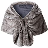 Caracilia Elegant Bridal Wedding Faux Fur Shawl Stole Wrap Shrug CA95 , Rabbit Fur Grey , Large