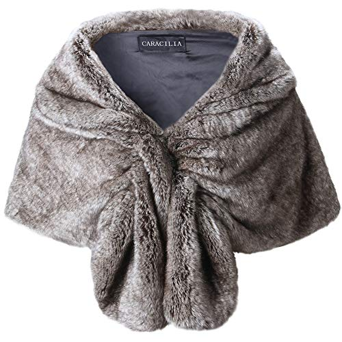 - Caracilia Elegant Bridal Wedding Faux Fur Shawl Stole Wrap Shrug CA95 , Rabbit Fur Grey , Large
