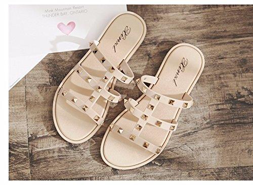 XIAOGEGE beige scarpe indossare piatto donna le Il fondo fondo Pantofole moda spesso di pantofole a estate spiaggia da donna XUH4U0qnwr