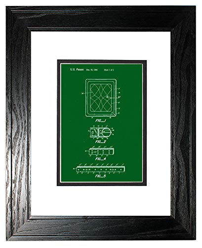 Waterbeds Pine (Waveless Waterbed Mattress Patent Art Green Print in a Black Pine Wood Frame with a Double Mat (13
