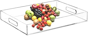 Clear Serving Tray 12x16 inches Acrylic Trays Rectangular with Handles- Spill Proof - Organiser for Ottoman Coffee Table,Drinks,Breakfast,Tea,Coffee,Acrylic Decorative Display,Countertop,Kitchen