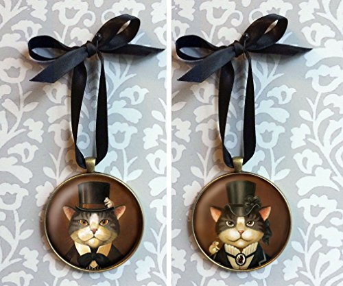 Cat Ornament - Christmas Ornament - Victorian Cat Decoration - Cat Miniature - Cat Christmas Tree Ornament - Wall Hanging - Steampunk Cats - Gothic Cat