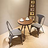 Merax T Series Set of 2 Distressed Style High Back Chic Steel Stackable Metal Dining Chairs for Bistro/Cafe (Antique Black)