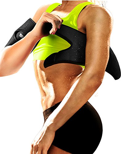 LODAY Neoprene Arm Trimmers Sauna Sweat Band for Women Men Weight Loss Compression Body Wraps Sport Workout Exercise(a Pair) (The Best Exercise To Lose Thigh Fat)
