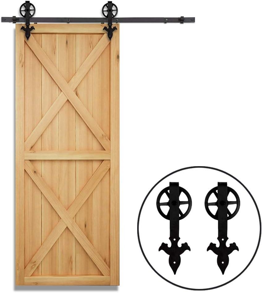 121CM//4FT Herraje para Puerta Corredera Kit de Accesorios para Puertas Correderas Juego de Piezas de Metal Carril para Puerta Deslizante Negro industria