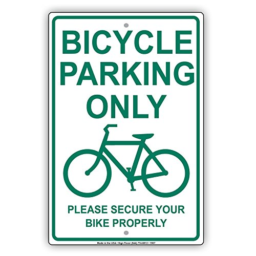 With Graphic Please Secure Bike Properly Alert Caution Warning Notice Aluminum Metal Tin 8