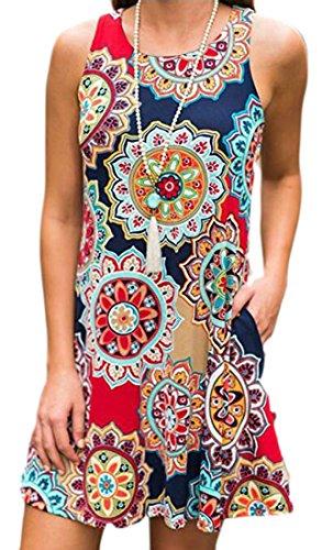 Floral Crewneck Womens Summer Jaycargogo Dress Khaki Sleeveless Beachwear fqS8p