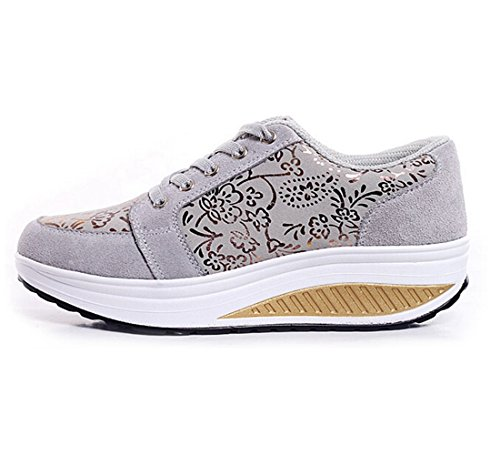 Jiyaru Dames Pu Ronde Neus Lace-up Sportschoenen Wedge Fashion Sneaker Grijs