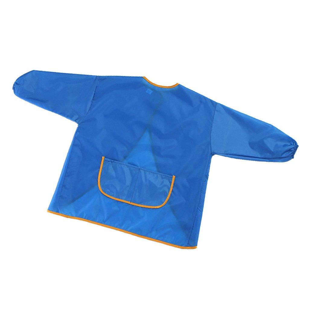 MagiDeal 1 Stück Kinder Wasserdicht Malschürze - Langärmelig Kunstkittel Kinderschürze - Taschen in der Vorderseite - Blau