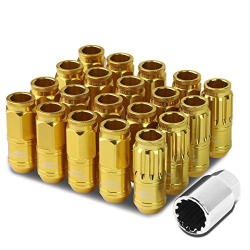 M12 x 1.5 Open End Design 16-Piece Aluminum Alloy Wheel Lug Nuts + 4 x Lock Nut + 1 x Lock Nut Key (Gold)