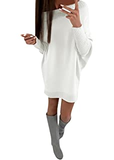 140b308a38a6 Donna Collare Obliquo Vestiti Invernali Eleganti Pullover Abito Manica Lunga  Mini Dress Casuale Vestito A Maglia