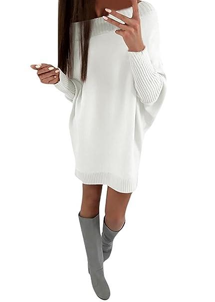 ShallGood Donna Collare Obliquo Vestiti Invernali Eleganti Pullover Abito  Manica Lunga Mini Dress Casuale Vestito A Maglia Maglione Bianca IT 44   Amazon.it  ... a75b37757d6