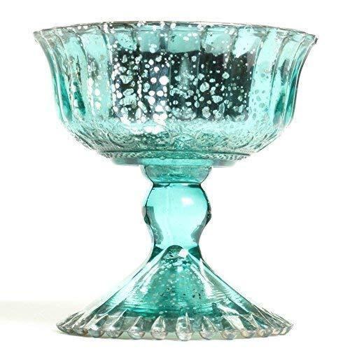 - Koyal Wholesale Compote Bowl Centerpiece Mercury Glass Antique Pedestal Vase, Floral Centerpiece, Wedding, Bridal Shower, Home Décor (4.5