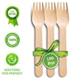 "Disposable Wooden Forks| Pack of 100 Pcs - 6.5"" Wooden Forks