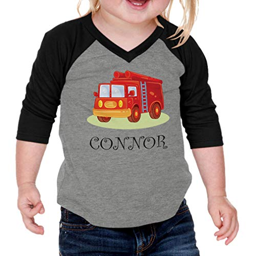 Personalized Custom Future Fire Fighter Truck Kids Cotton/Polyester V-Neck Boys-Girls Infant Raglan T-Shirt Baseball Jersey - Gray Black, 24 Months