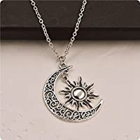 sirimongkol Charm Fashion Jewelry Crescent Necklace Pendant Sun And Moon Chain