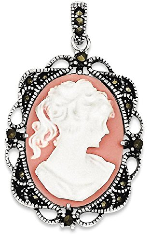 ICE CARATS 925 Sterling Silver Marcasite Plastic Cameo Pendant Charm Necklace Fine Jewelry Gift Set For Women (Marcasite Set Necklace)