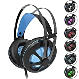 Gintenco Xbox One PS4 Gaming Headset Noise Cancelling Ear Headphone with Hidden Mic Color Change LED Lights for PC Laptop Mac Computer Nintendo Switch Game