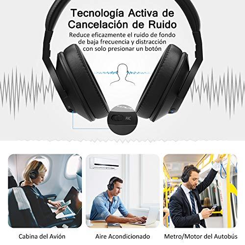 Mpow H12 Cascos Bluetooth Inalambricos(ANC),Over-Ear,Auriculares Diadema,Cancelación Activa de Ruido Auriculares Bluetooth, Auriculares Bluetooth Diadema ...