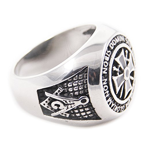 Men's Titanium Steel Silver Fashion Gothic Punk Charm Cross Finger Ring Jewelry 6618-0011-17 (13)