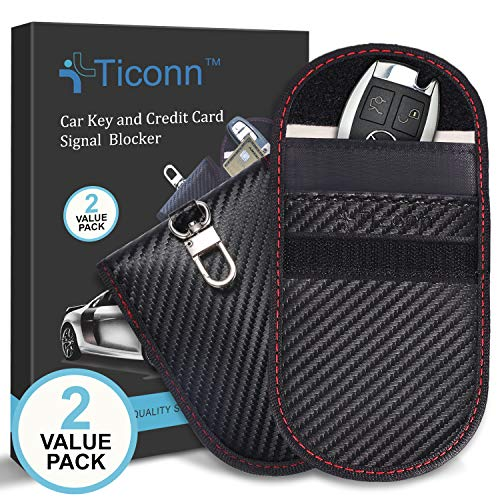 Upgraded Faraday Bag for Key Fob (2 Pack), TICONN Premium Faraday Cage Car Key Protector - RFID Signal Blocking, Anti-Theft Pouch, Anti-Hacking Case Blocker (Carbon Fiber Texture)