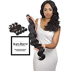 EURO REMY Brazilian Virgin 100% Unprocessed Human Hair Extensions - Weave - Body Wave - 3 Bundles 10 12 14 inches Natural