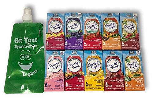 10 Crystal Light On-The-Go Boxes Includes: Lemonade, Fruit Punch, Raspberry Lemonade, Pink Lemonade, Grape, Cherry, Peach IT, Peach Mango, Raspberry Green Tea, and Wild Strawberry plus Nozlen Bottle (Punch Crystal Light The Fruit On Go)