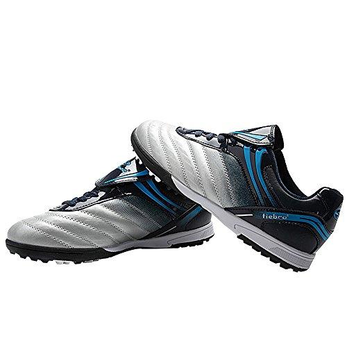 Tiebao Niños Respirable Difícil Suelo Interior Velocidad Patentar Cuero Fútbol Zapatos 1216 Plata