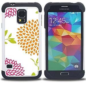 For Samsung Galaxy S5 I9600 G9009 G9008V - petal minimalist art white drawing Dual Layer caso de Shell HUELGA Impacto pata de cabra con im??genes gr??ficas Steam - Funny Shop -