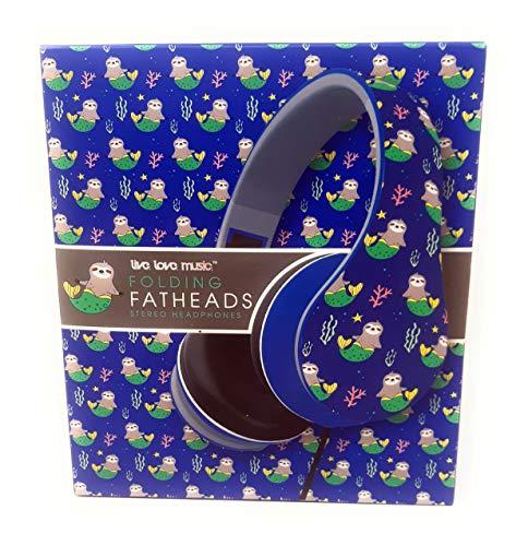 Folding Fatheads Sloth Headphones Over The Ear Padded Cushions Fun Sloths Mermaid Designs Stereo Sound