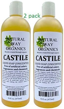 Natural Way Organics Ultra Mild Unscented Castile Soap – Perfect for Natural Skin Care and Hair Care – Make Your Own DIY Green Cleaning Products – 100 Pure – No Artificial Chemicals, Fragrances or Colorants 128 ounce