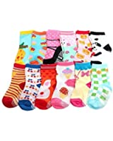 Baby Girls NON SKID Socks Multicoloured One Size Age 1 2 3 Years old Set D (Pack of 12)