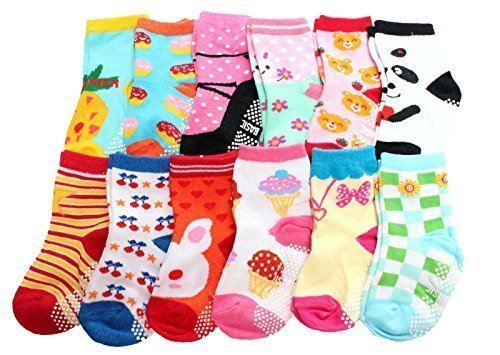 Baby Girls Non Skid Socks Multicoloured One Size Age 1 2 3 Years Old