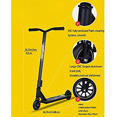 SWORDlimit Pro Scooters - D60 Scooters for Teens and Adults - Trick Scooters with Stable Performance - Deck 6061 Aluminum T6 Heat Treatment- Aluminum Wheels,Black: Sports & Outdoors