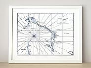 Eleuthera, Bahamas Letterpress Map Unframed Print