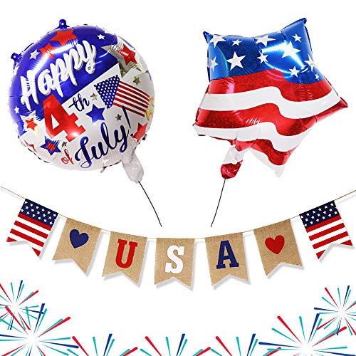 Independence Day Party Supplies Decorations - American USA Flag 4th of July Burlap Bunting Banner with Foil Balloons - Red White Star and Blue Theme for Patriotic Day Memorial Day Veterans Day