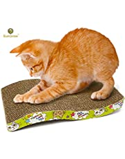 Scratcher Toy for Cats by SunGrow - Meow Scratch Board with a Curved Wave Design - Satisfy Your Kitty's Natural Scratching Instinct - Save Your Furniture - Made of Environmental Friendly Material