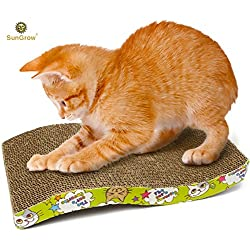 Scratcher Toy for Cats by SunGrow --- Meow Scratch Board with a Curved Wave Design - Satisfy your kitty's Natural Scratching Instinct - Save your Furniture - Made of Environmental Friendly Material