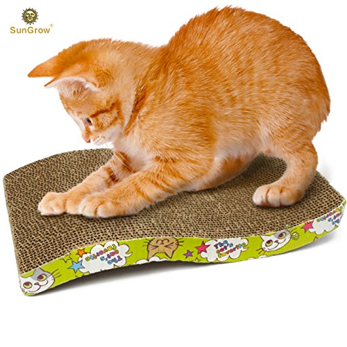 SunGrow Scratcher Toy for Cats Meow Scratch Board with a Curved Wave Design - Satisfy Your kitty's Natural Scratching Instinct - Save Your Furniture - Made of Environmental Friendly Material