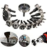 5 16 long drill bit - NUZAMAS Set of 13 Hole Saw Set Metal Core Drill Bits 16-53mm Tungsten Steel Cutter Tool Kits for Stainless Steel Iron Plate Copper Wood
