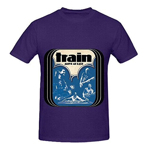 Train Alive At Last Funk Mens O Neck Printed Tee Purple
