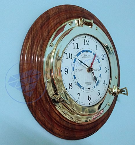 16'' Large Beautiful Time Tide Clock - Ocean Beach Pirate Ship Decor | Nagina International by Nagina International